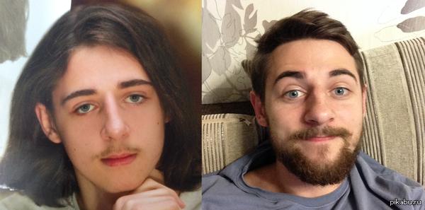 Наткнулся на школьный выпускной фотоальбом... До сих пор ржу, разница - 5 лет) И да, я реально считал мои усы крутыми и не хотел их брить.  P.S. Интересно посмотреть на ваши трансформации)  трансформация, усы, разница