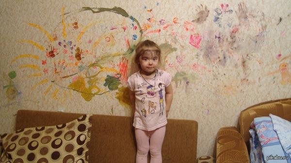 Дочь на фоне своего творения   Дети, Художник, талант