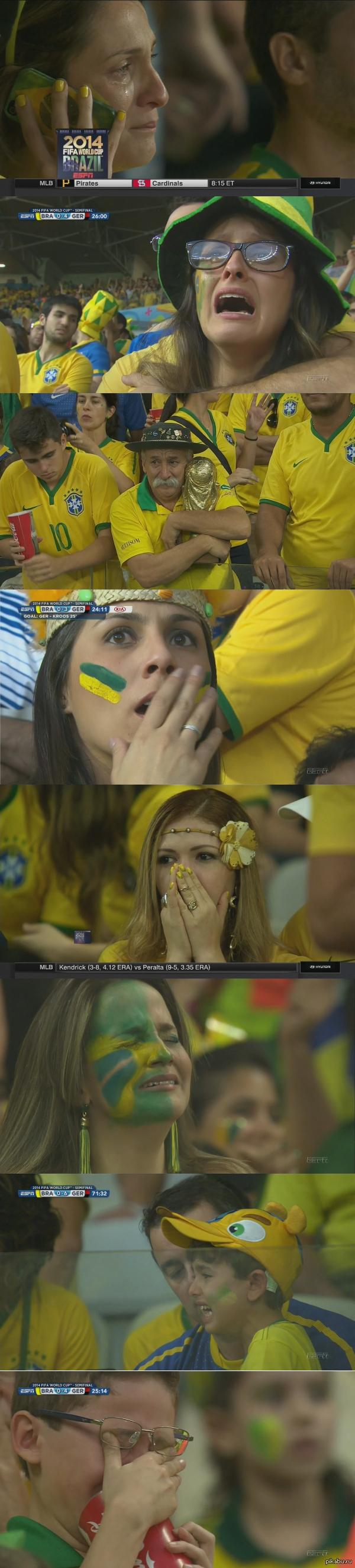 Эмоции бразильских болельщиков во время матча Бразилия - Германия немного длиннопост  Бразилия-Германия, ЧМ 2014, эмоции, футбол, немного длиннопост