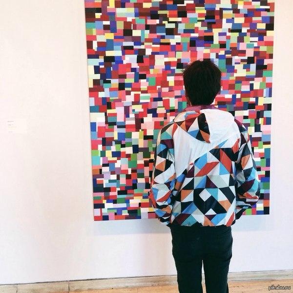 Сегодня в галерее современного искусства моя девушка потеряла меня Интересно почему...  искусство, куртка