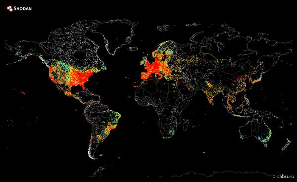 Карта всех устройств имеющих доступ в интернет В центре Гренландии красная точка о_0  карта, интернет, Гренландия