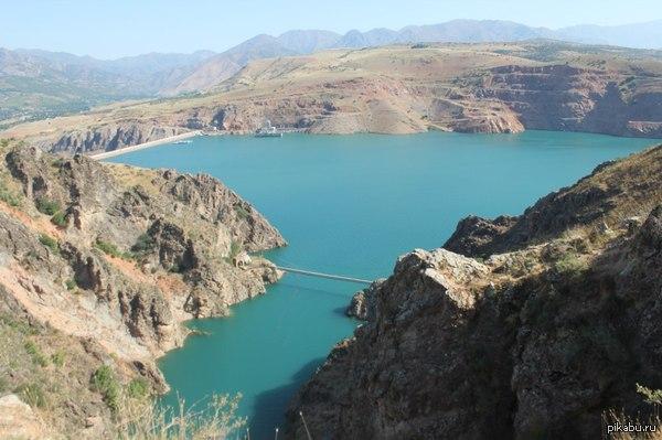 Чарвакское водохранилище вид сверху   Узбекистан, природа, красиво