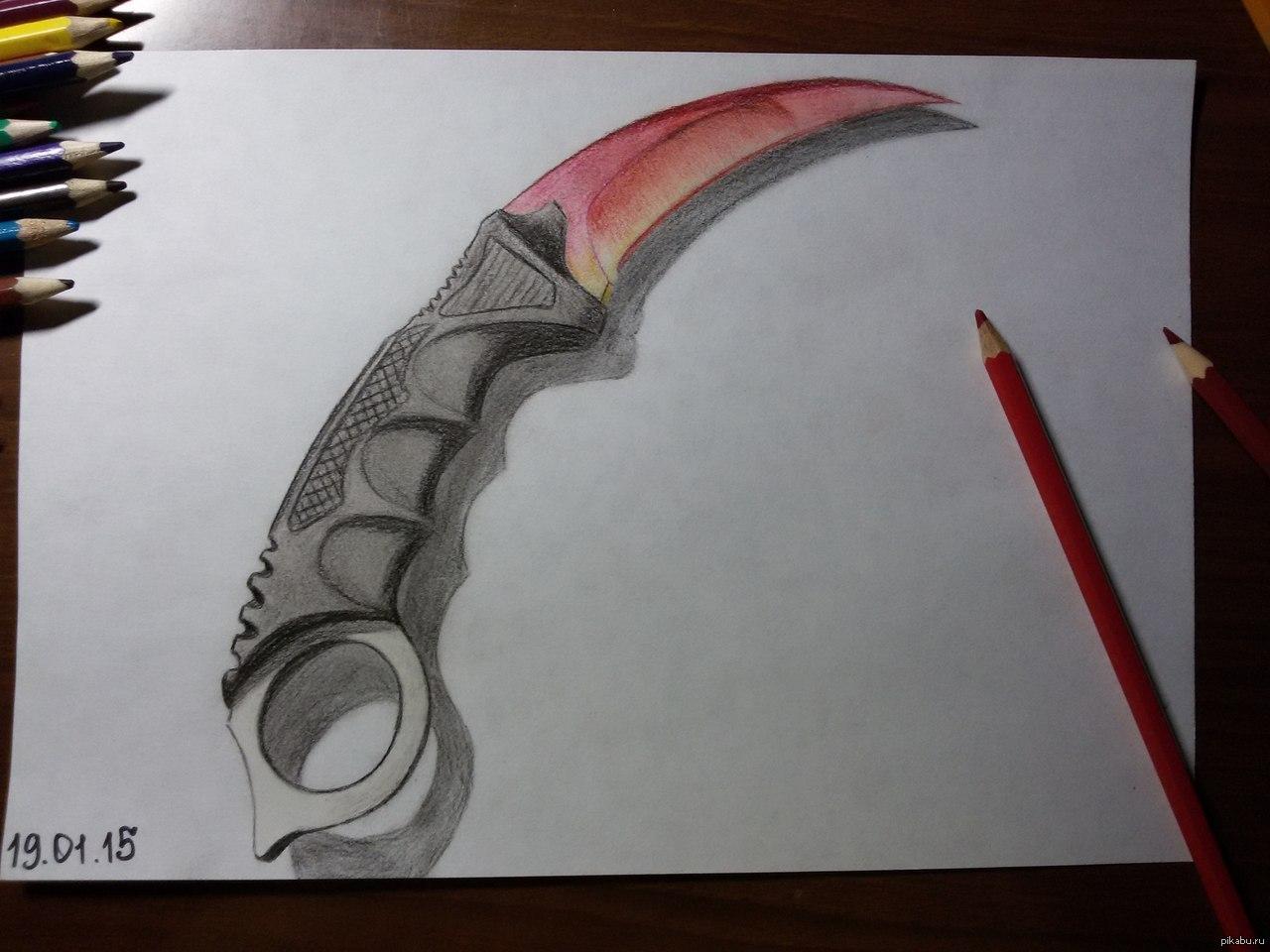 Как нарисовать нож керамбит карандашом поэтапно фото